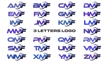 3 letters modern generic swoosh logo AMF, BMF, CMF, DMF, EMF, FMF, GMF, HMF, IMF, JMF, KMF, LMF, MMF, NMF, OMF, PMF, QMF, RMF, SMF, TMF, UMF, VMF, WMF, XMF, YMF, ZMF