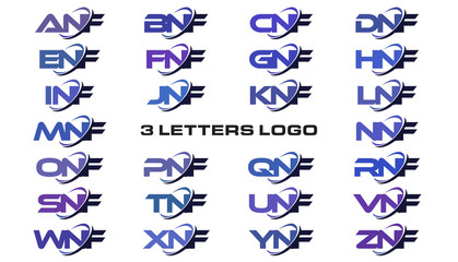 3 letters modern generic swoosh logo ANF, BNF, CNF, DNF, ENF, FNF, GNF, HNF, INF, JNF, KNF, LNF, MNF, NNF, ONF, PNF, QNF, RNF, SNF, TNF, UNF, VNF, WNF, XNF, YNF, ZNF