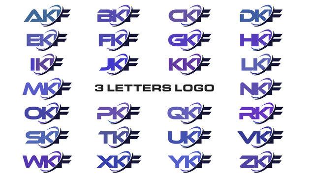 3 letters modern generic swoosh logo AKF, BKF, CKF, DKF, EKF, FKF, GKF, HKF, IKF, JKF, KKF, LKF, MKF, NKF, OKF, PKF, QKF, RKF, SKF, TKF, UKF, VKF, WKF, XKF, YKF, ZKF