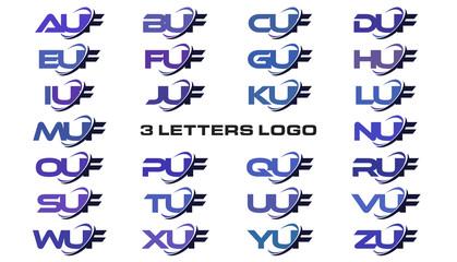 3 letters modern generic swoosh logo AUF, BUF, CUF, DUF, EUF, FUF, GUF, HUF, IUF, JUF, KUF, LUF, MUF, NUF, OUF, PUF, QUF, RUF, SUF, TUF, UUF, VUF, WUF, XUF, YUF, ZUF