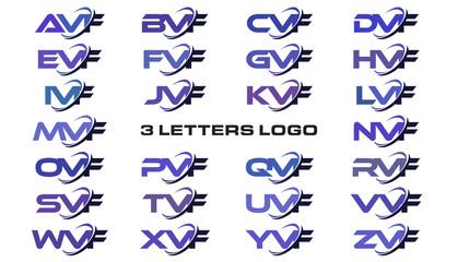3 letters modern generic swoosh logo AVF, BVF, CVF, DVF, EVF, FVF, GVF, HVF, IVF, JVF, KVF, LVF, MVF, NVF, OVF, PVF, QVF, RVF, SVF, TVF, UVF, VVF, WVF, XVF, YVF, ZVF
