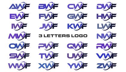 3 letters modern generic swoosh logo AWF, BWF, CWF, DWF, EWF, FWF, GWF, HWF, IWF, JWF, KWF, LWF, MWF, NWF, OWF, PWF, QWF, RWF, SWF, TWF, UWF, VWF, WWF, XWF, YWF, ZWF