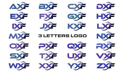 3 letters modern generic swoosh logo AXF, BXF, CXF, DXF, EXF, FXF, GXF, HXF, IXF, JXF, KXF, LXF, MXF, NXF, OXF, PXF, QXF, RXF, SXF, TXF, UXF, VXF, WXF, XXF, YXF, ZXF