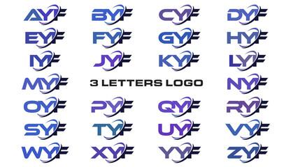 3 letters modern generic swoosh logo AYF, BYF, CYF, DYF, EYF, FYF, GYF, HYF, IYF, JYF, KYF, LYF, MYF, NYF, OYF, PYF, QYF, RYF, SYF, TYF, UYF, VYF, WYF, XYF, YYF, ZYF