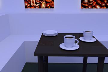 3D-Rendering von weißen Kaffeetassen mit Untertasse auf einem dunklen, spiegelnden Tisch und beleuchtete Bilder von gerösteten   Kaffeebohnen an der Wand