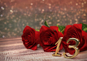 birthday concept with red roses on wooden desk. thirteenth. 13th. 3D render