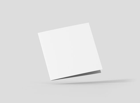 Photorealistic Square Bifold Brochure Mockup, closed frontside, on light grey background. 3D illustration. High Resolution Texture. Mockup template ready for your design.