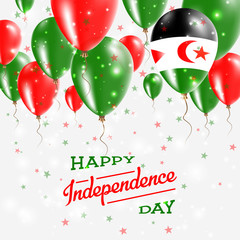 Western Sahara Vector Patriotic Poster. Independence Day Placard with Bright Colorful Balloons of Country National Colors. Western Sahara Independence Day Celebration.