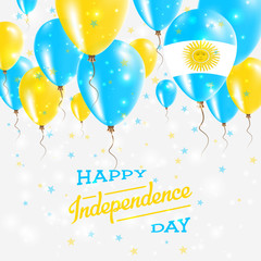 Argentina Vector Patriotic Poster. Independence Day Placard with Bright Colorful Balloons of Country National Colors. Argentina Independence Day Celebration.