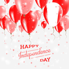 Peru Vector Patriotic Poster. Independence Day Placard with Bright Colorful Balloons of Country National Colors. Peru Independence Day Celebration.