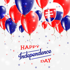 Slovakia Vector Patriotic Poster. Independence Day Placard with Bright Colorful Balloons of Country National Colors. Slovakia Independence Day Celebration.