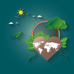 Concept of green eco earth. paper art design