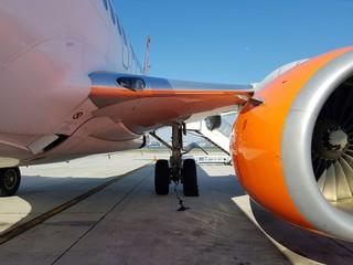 Trem de pouso de um avião