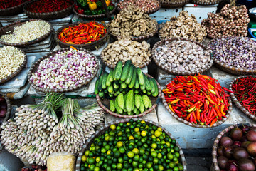 Fruits and vegetables for sale at a street market in Hanoi, Vietnam
