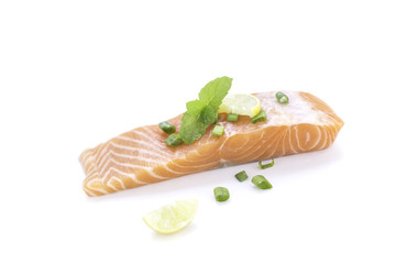 A food is slice salmon fish and vegetable.