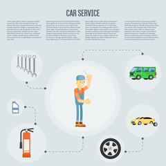 Infographics of scene presents workers in car service tire service and car repair vector illustration