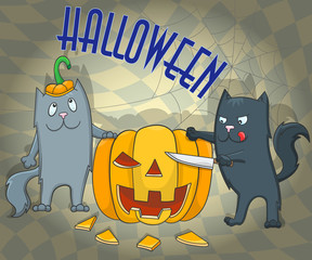 Illustration for Halloween, two funny cats, carving pumpkins