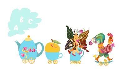 Cute cartoon english alphabet with colorful image. Teapot and cups train. Kids vector ABC. Letter A, B, C. Apple, butterfly, cockerel.