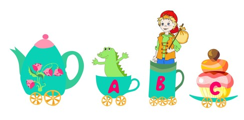 Cute cartoon english alphabet with colorful image. Teapot and cups train. Kids vector ABC. Letter A, B, C. Alligator, boy, cupcake.