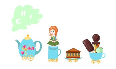 Cute cartoon english alphabet with colorful image. Teapot and cups train. Kids vector ABC. Letter G, H, I. Girl, house, ice cream.
