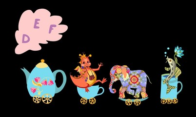 Cute cartoon english alphabet with colorful image. Teapot and cups train. Kids vector ABC. Letter D, E, F. Dragon, elephant, fish.