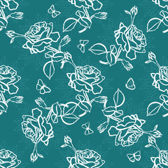 Vector seamless background pattern with roses, leaves and butterflies