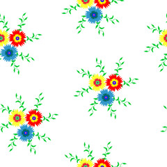 Seamless pattern of flowers in red, blue and yellow with green leaves on a white background