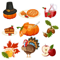 Thanksgiving icons vector set.