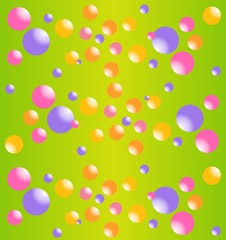 Multicolored bubbles of different size. Funny print for fabric.