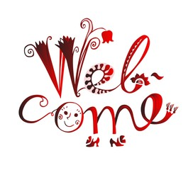 Welcome - cute hand drawn lettering.