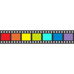 Rainbow flag Film strip frame. Straight shape ribbon. Design element. White background. LGBT Gay movie cinema sign symbol. Isolated. Flat .