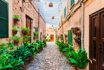 Fototapete - Street in Valldemossa village Majorca Spain