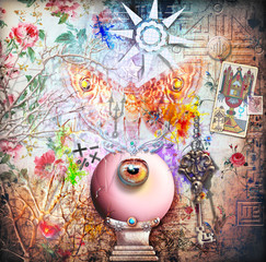 Collage background with magic crystal ball and moth