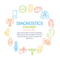 Diagnostic Concept with Human Organs Set. Vector