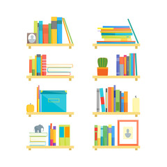 Shelves with Books and Different Things Set. Vector