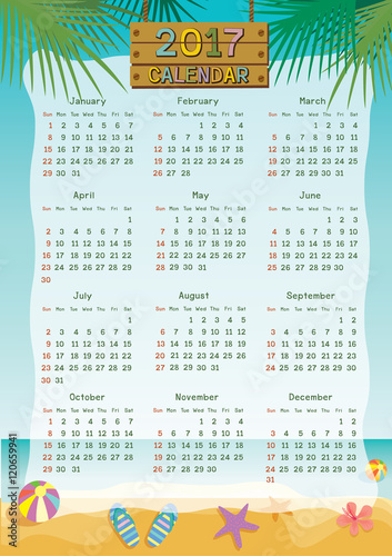 Illustration Vector Of Twelve Month Calendar Template For 2017 With