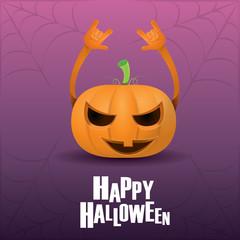 pumpkin rock n roll style halloween greeting card