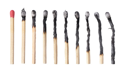 Different stages of match burning. Isolated on white