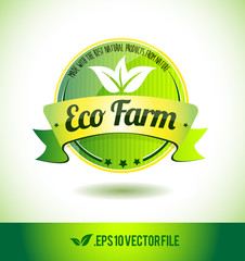 Eco farm badge label seal text tag word