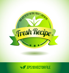Fresh recipe badge label seal text tag word