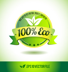 100% eco badge label seal text tag word