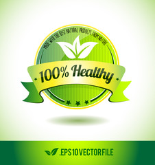 100% healthy badge label seal text tag word