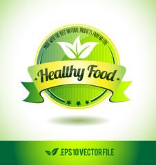 Healthy food badge label seal text tag word