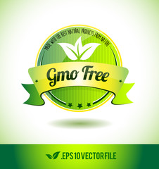 Gmo free badge label seal text tag word
