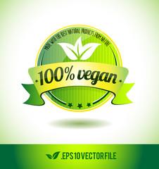 100% vegan badge label seal text tag word