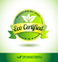 Eco certified badge label seal text tag word