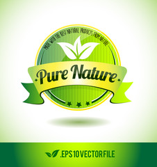 Pure nature badge label seal text tag word
