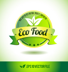 Eco food badge label seal text tag word