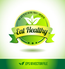 Eat healthy badge label seal text tag word