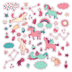 Unicorn and pony collection with magic items. Vector hand drawn